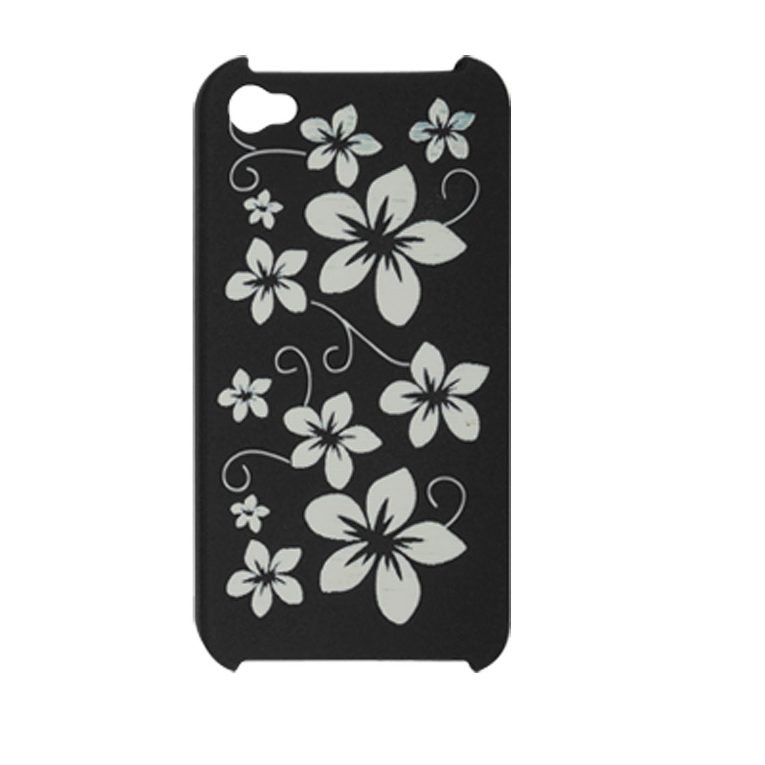 White Flower Printed Black Hard Plastic Back Case for iPhone 4 4G