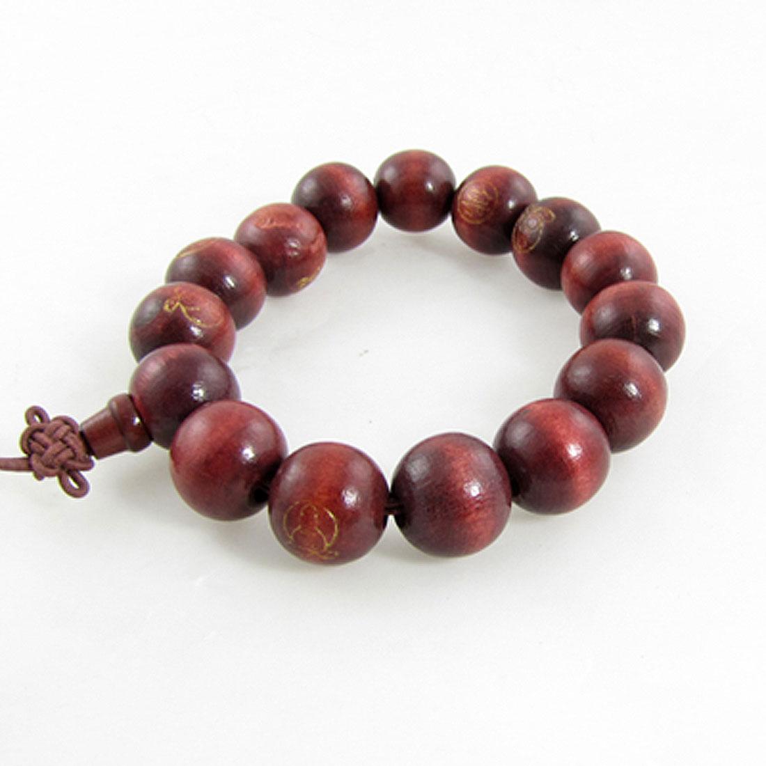 Wine Red Wooden Buddhist Prayer Beads Wrist Mala Bracelet