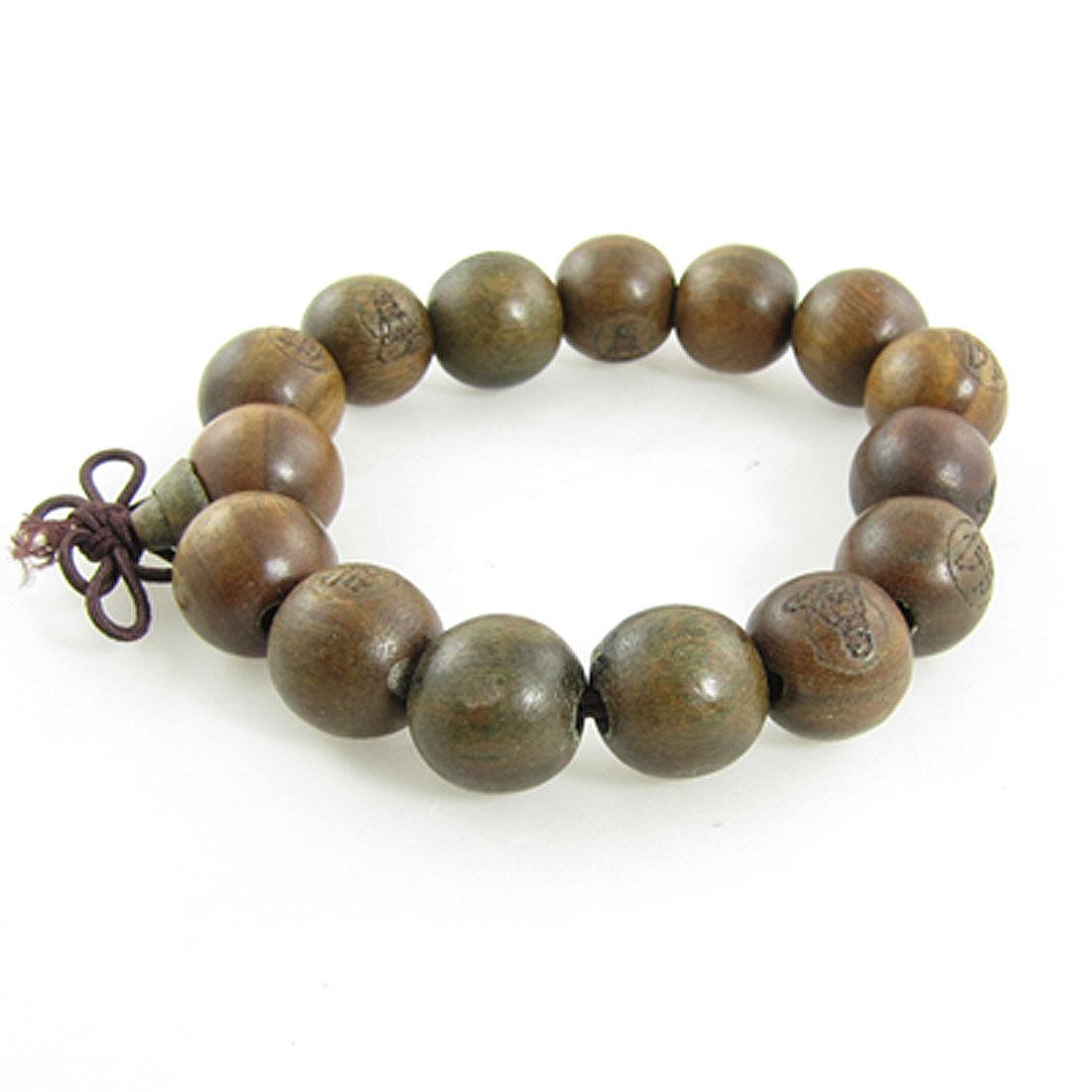 Buddhist Brown Wooden Carved Prayer Beads Wrist Mala Bracelet