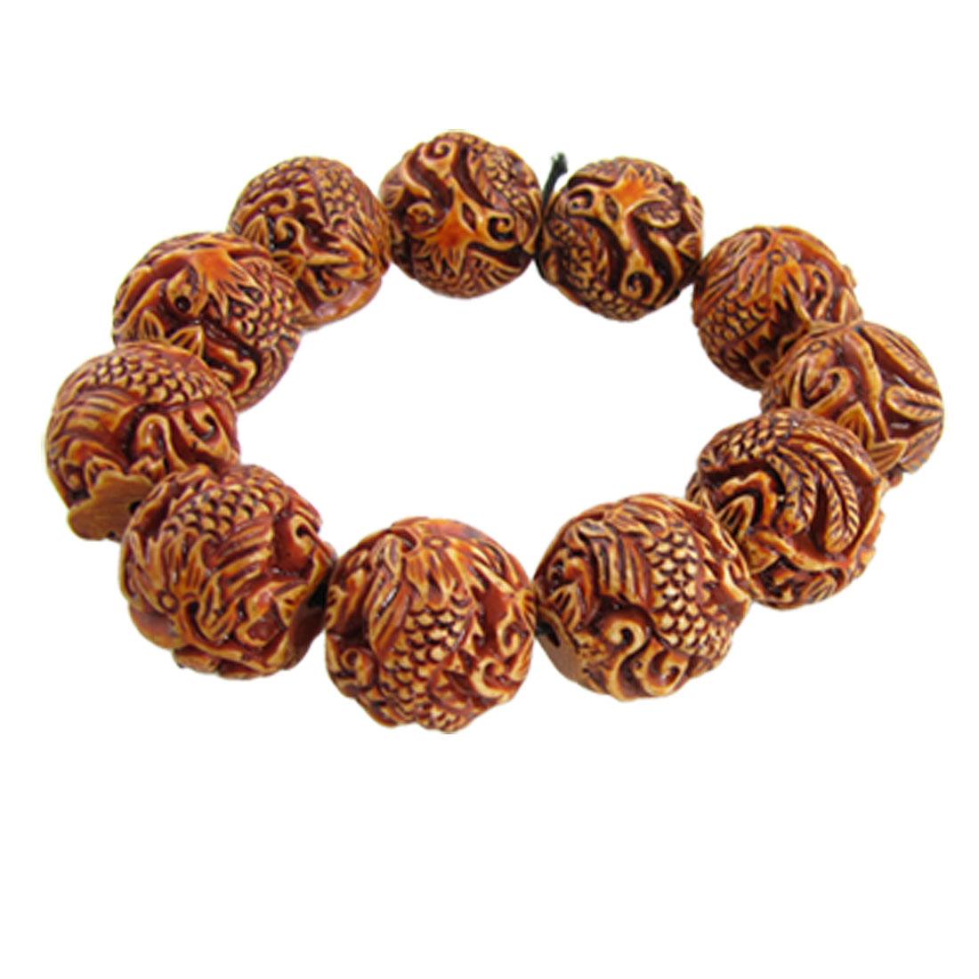 Women Men Brown Plastic Dragon Phoenix Carved Stretchy Bracelet