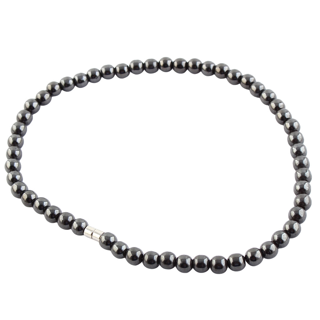 Women Men Dark Grey Round Hematite Beads Magnetic Necklace