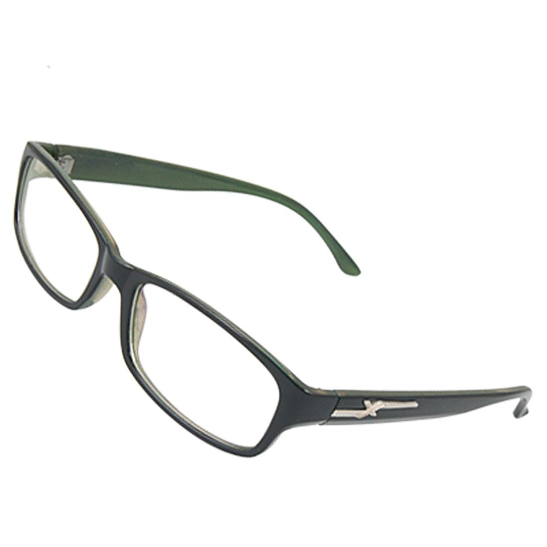 Ladies Full Frame MC Lens Black Green Plano Glasses
