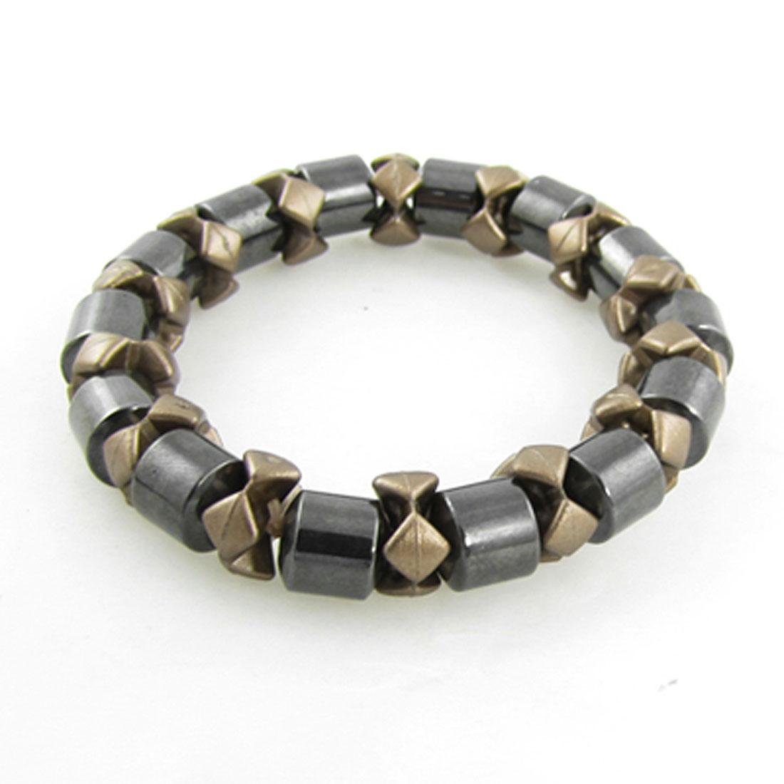 Elastic Band Linked Brown Dark Grey Magnetic Bracelet for Lady