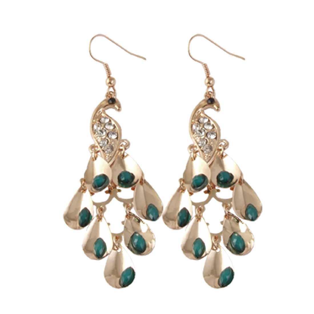 Ladies Peacock Shape Plastic Beads Decor Rhinestones Inlay Earrings