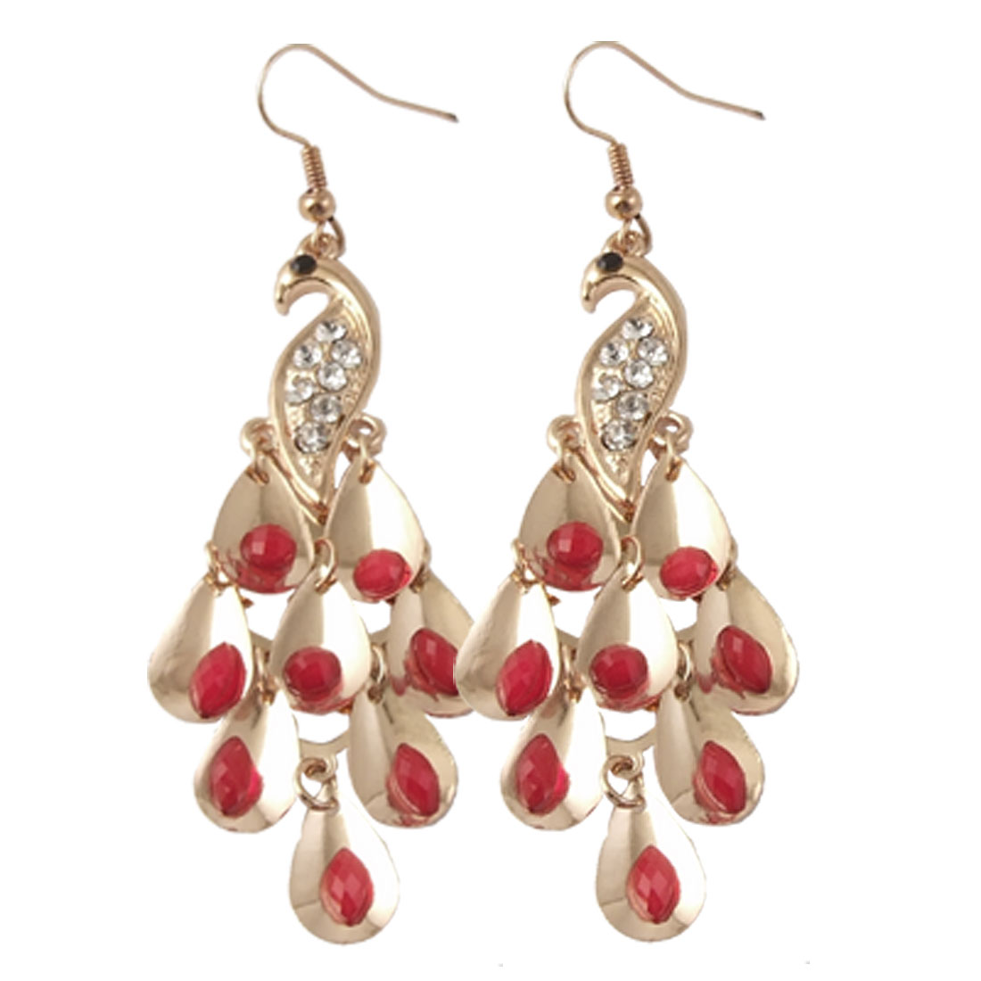 Ladies Plastic Red Beads Inlaid Rhinestone Peacock Earrings