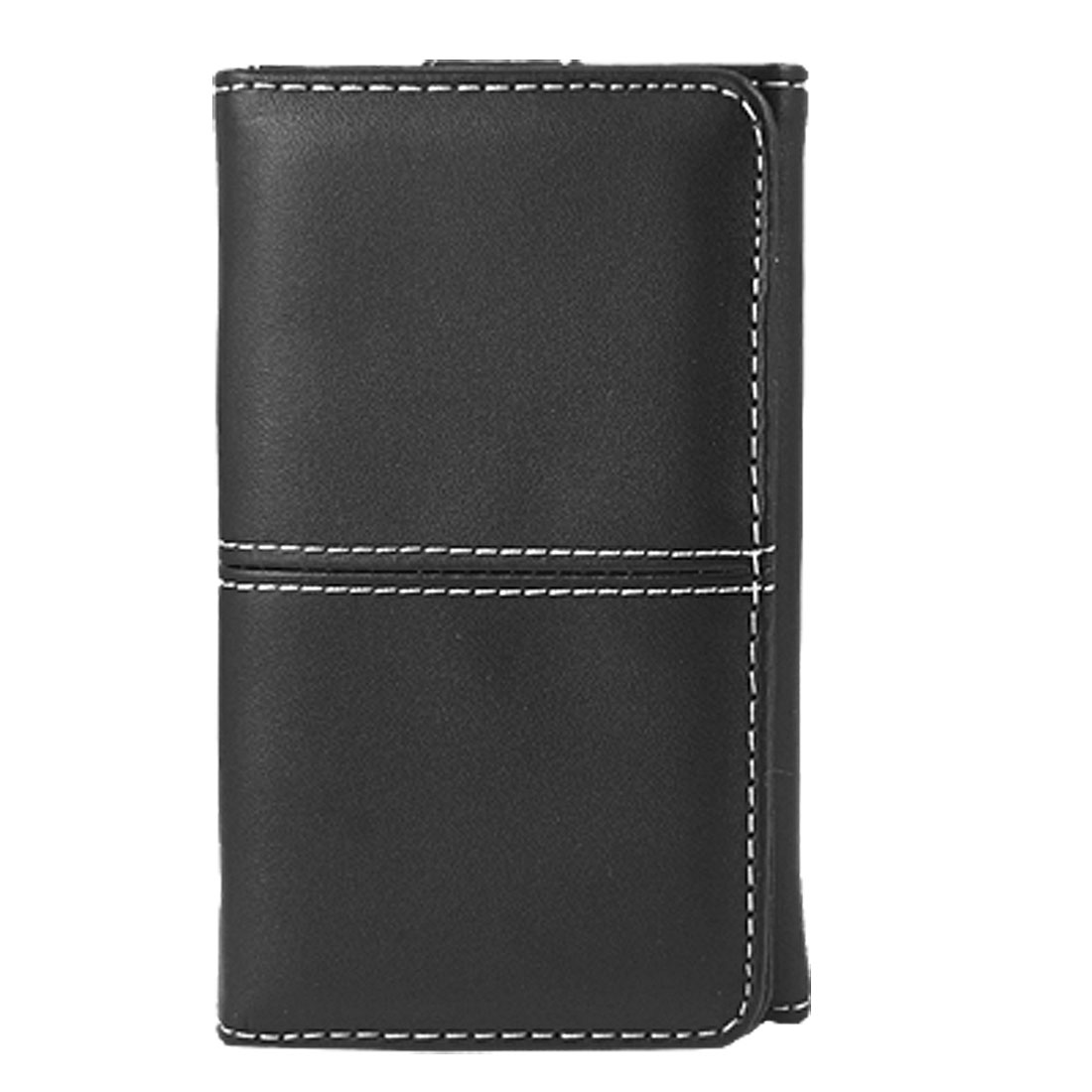 Magnetic Closure Black Faux Leather Pouch Case for iPhone 4 4G