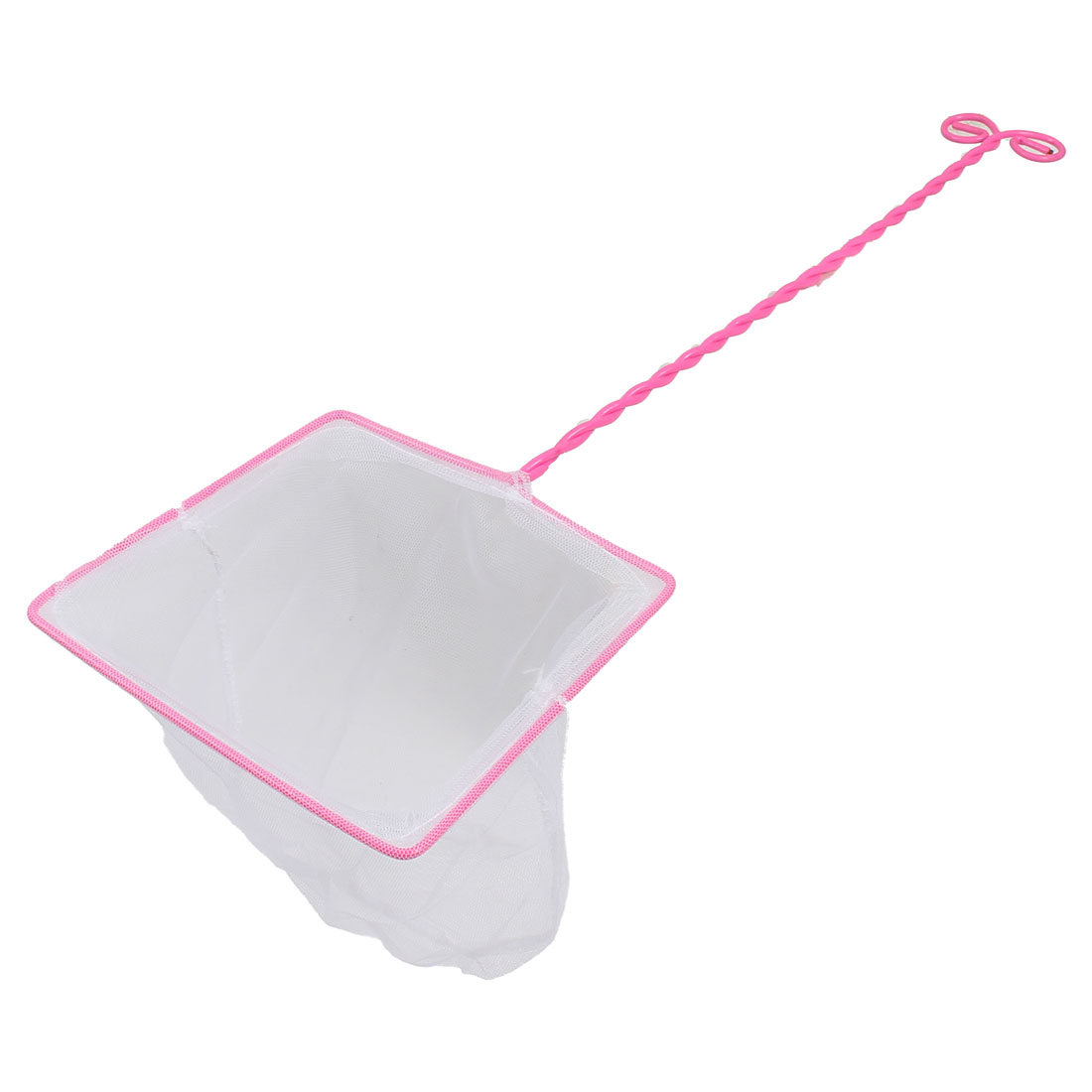 Pink Spiral Long Handle Soft Nylon Mesh Square Aquarium Fish Net