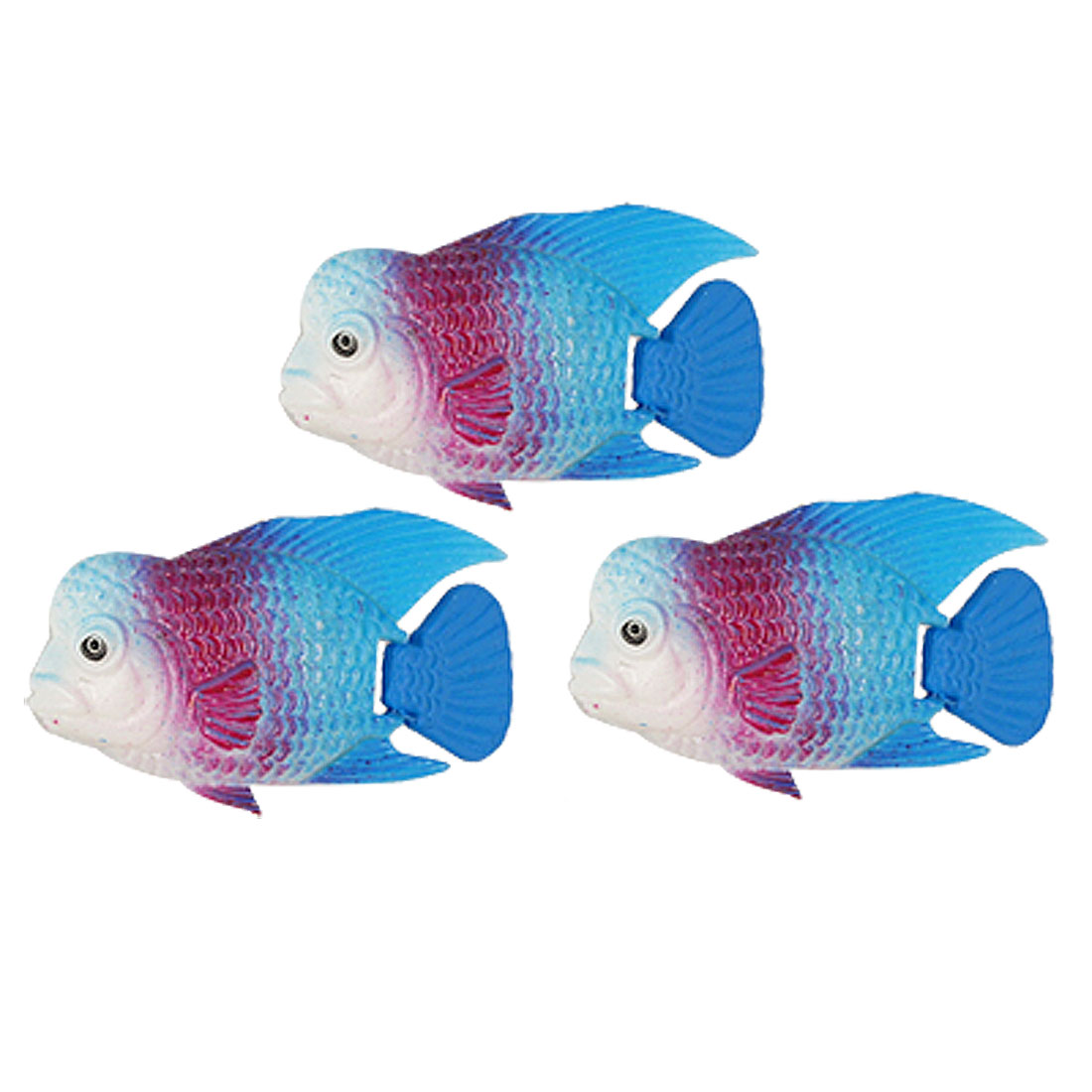 3 Pcs Aquarium White Mouth Blue Tail Floating Plastic Fish Decoration