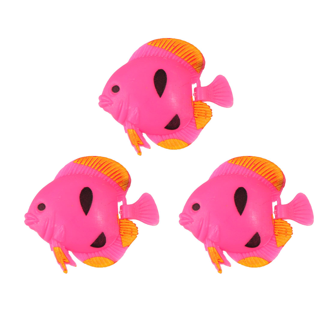 3 Pcs Black Prints Hot Pink Plastic Floating Fish Decoration for Aquarium