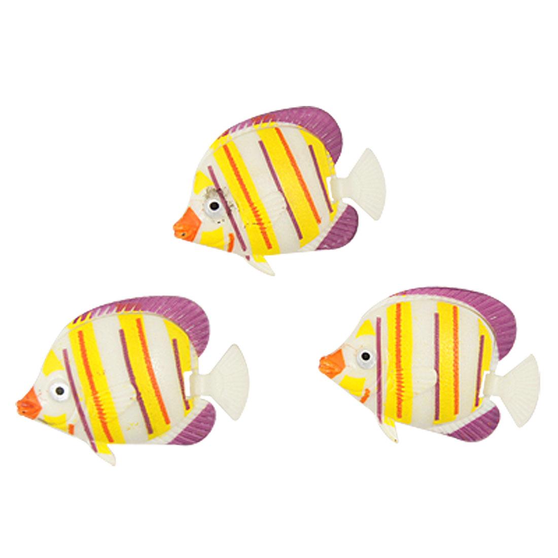 3 Pcs Auqarium Yellow Orange Striped Plastic Floating Fish Decoration