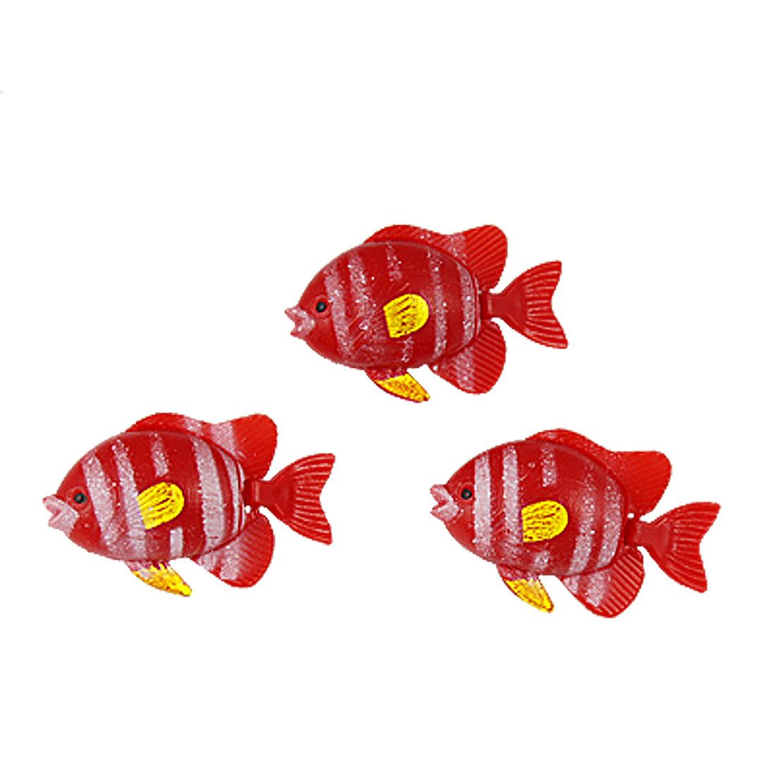 "1.2"" Length Striped Red Plastic Mini Fish Ornament for Aquarium 3 Pcs"