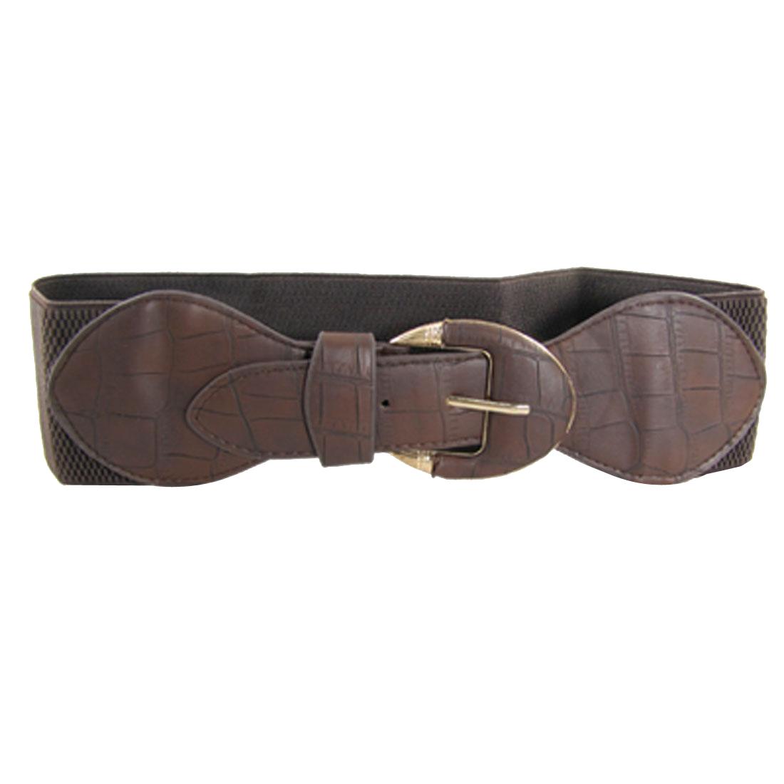 Lady Crocodile Pattern Bowknot Single Prong Buckle Elastic Coffe Belt