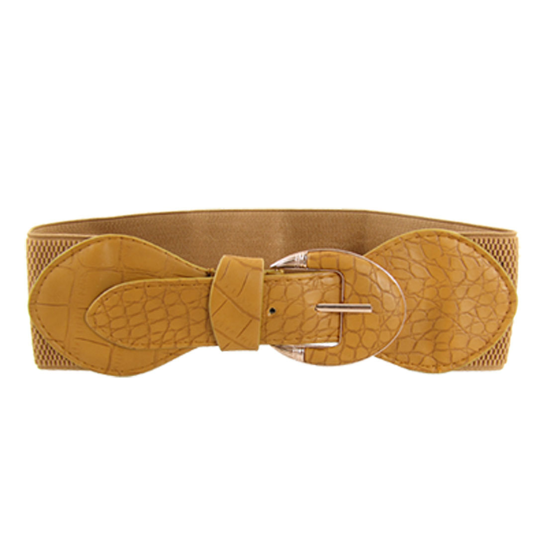 Lady Crocodile Pattern Bowknot Single Prong Buckle Elastic Camel Belt