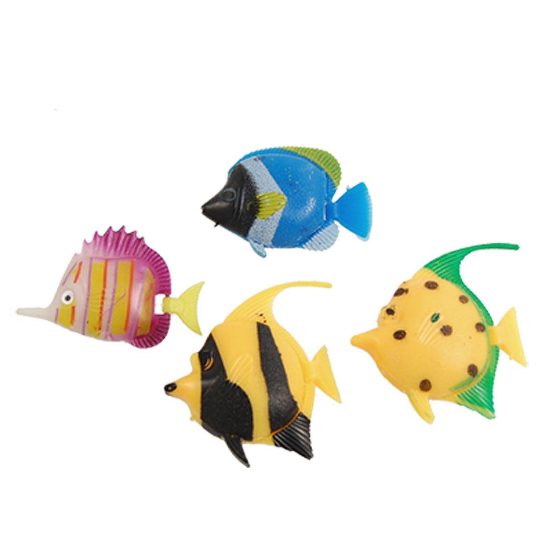 4 Pcs Colors Plastic Floating Tropical Fish Ornament for Aquarium