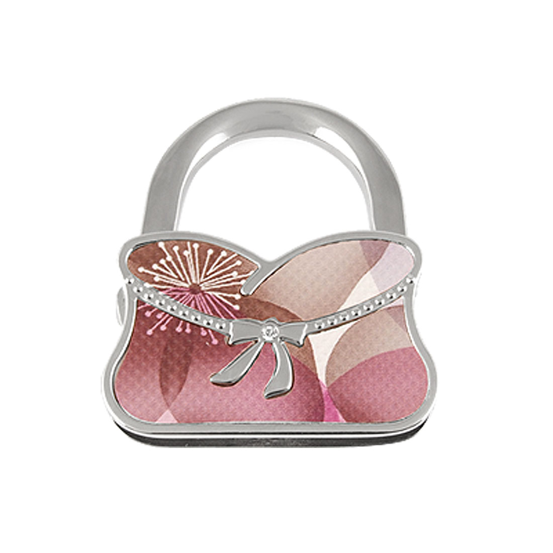 Fireworks Pattern Pink Khaki Faux Leather Coated Rhinestone Inlay Silver Tone Fold Bags Hook
