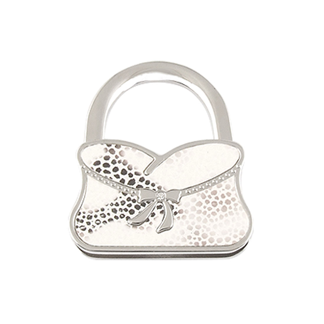 White Faux Leather Coated Bowknot Decor Dots Pattern Silver Tone Folding Bag Hook