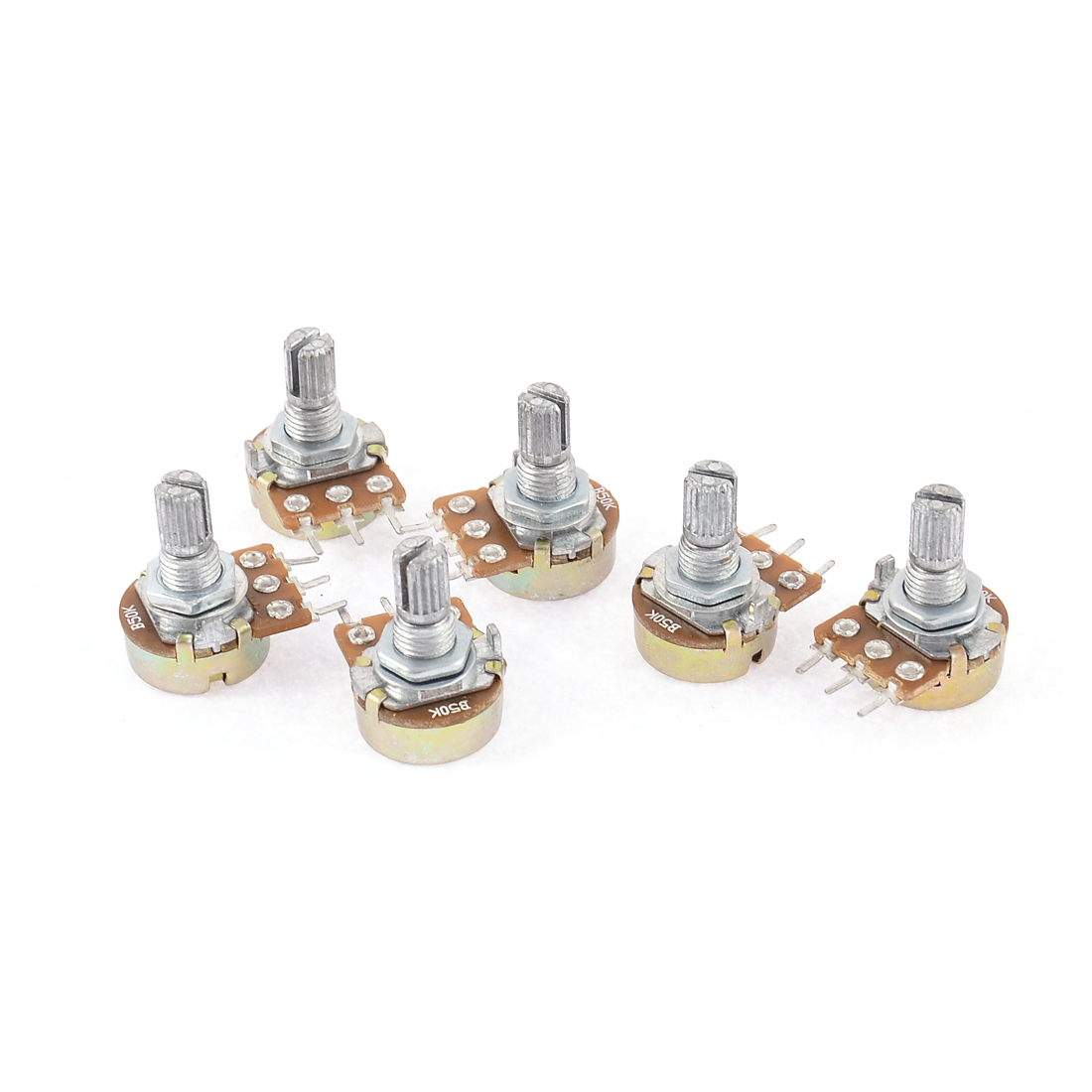 6 Pcs Silver Tone Metal Split Shaft Potentiometer 50K Ohm