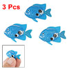 3 Pcs Blue Artificial Plastic Floating Mini Fish Ornament for Aquarium