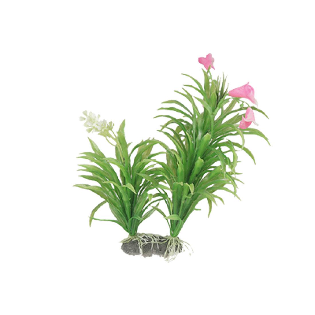 Aquarium Pink Flower Green Emulational Plastic Water Grass