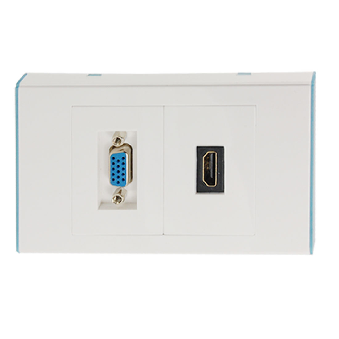 White VGA HDMI Wall Mounting Panel Socket Dual Jacks Plate