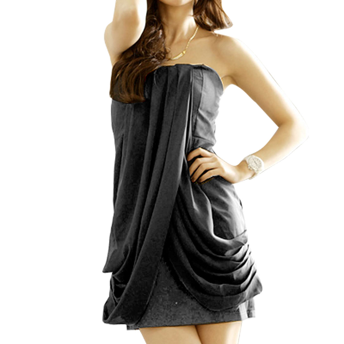Ladies Charcoal Crossover Chiffon Draping Front Mini Tube Dress XS