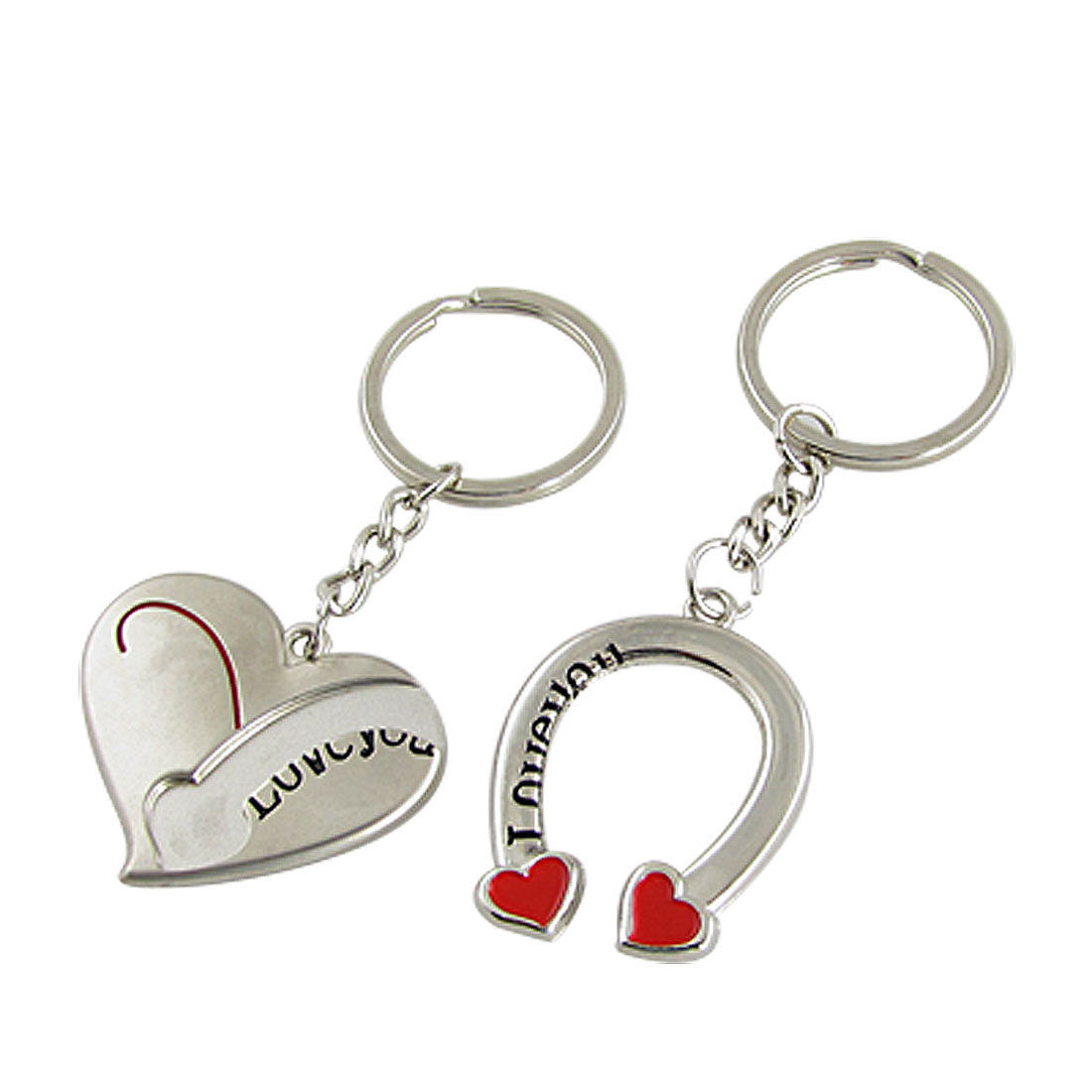 Sivler Tone Heart Shape Pendant Keychains 2 Pcs for Lovers