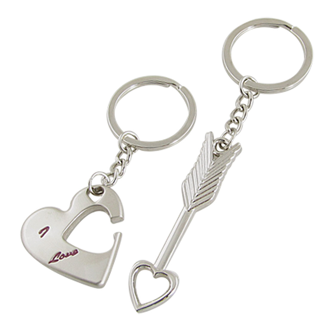 Couples I Love You Heart Cupid Pendants Key Ring Keychain
