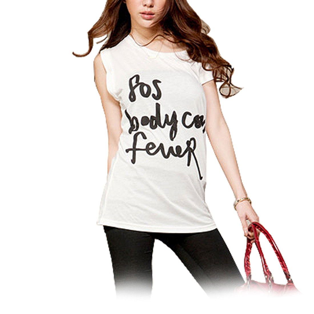 Ladies White Round Neck Sleeveless Scribbled T Shirt S