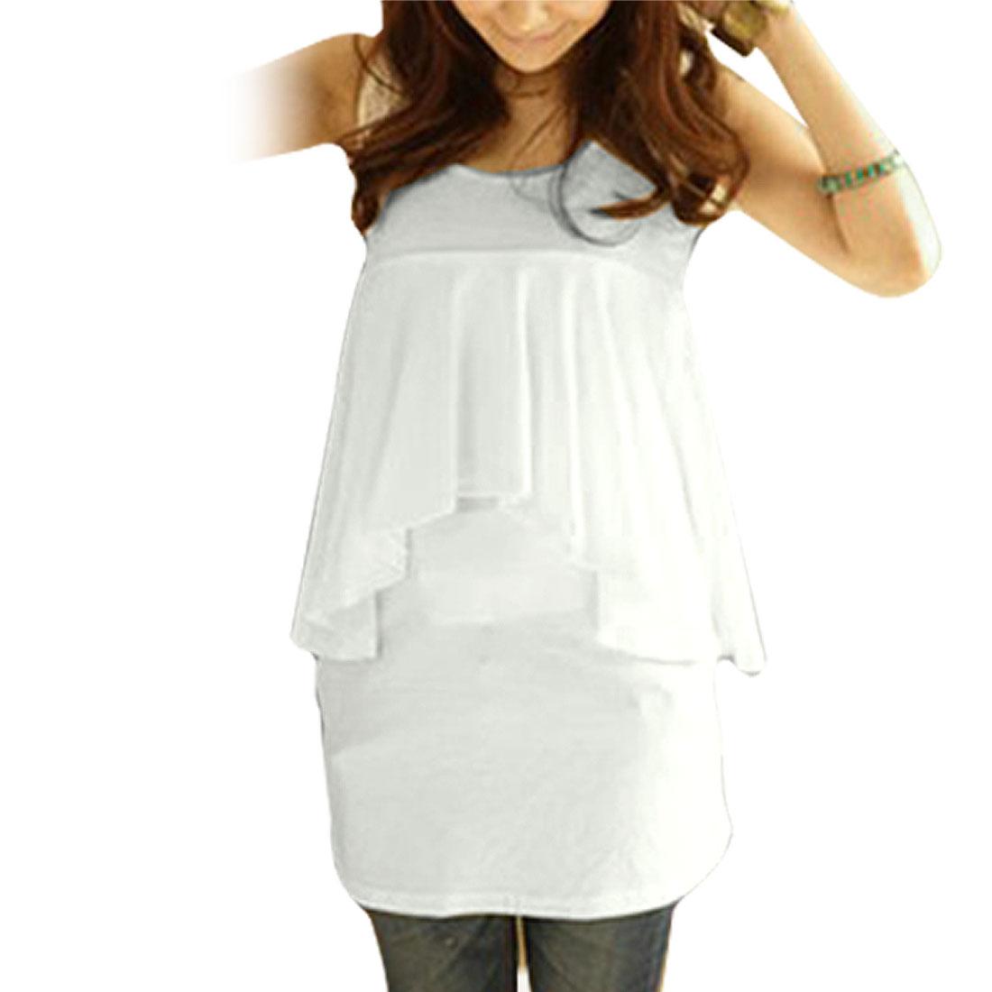Lady White Scoop Neck Ruffled 2 Fer Design Tunic Shirt S