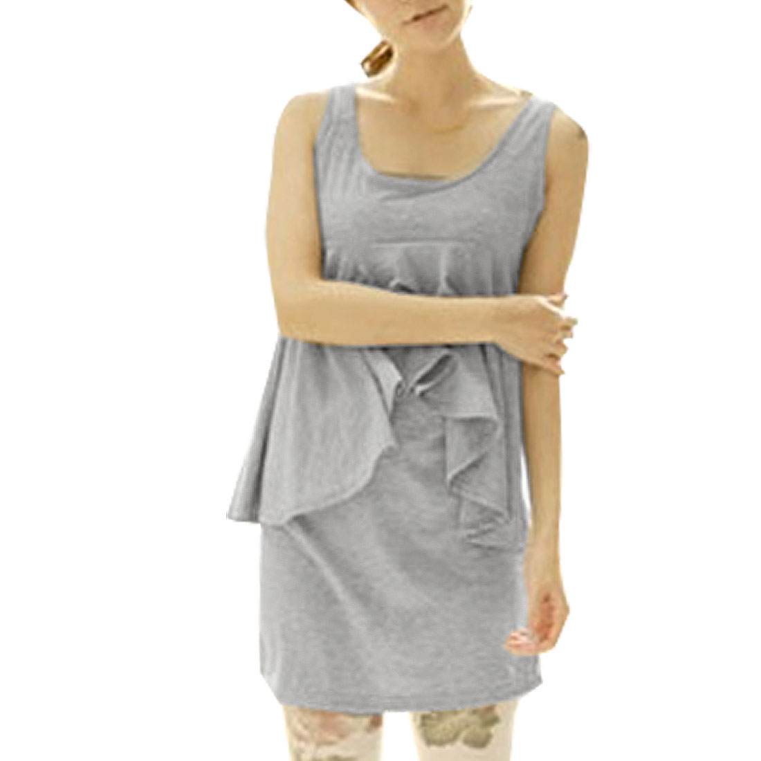 Gray Round Neck Spliced Ruffle Design Sleeveless Tunic Top for Lady S