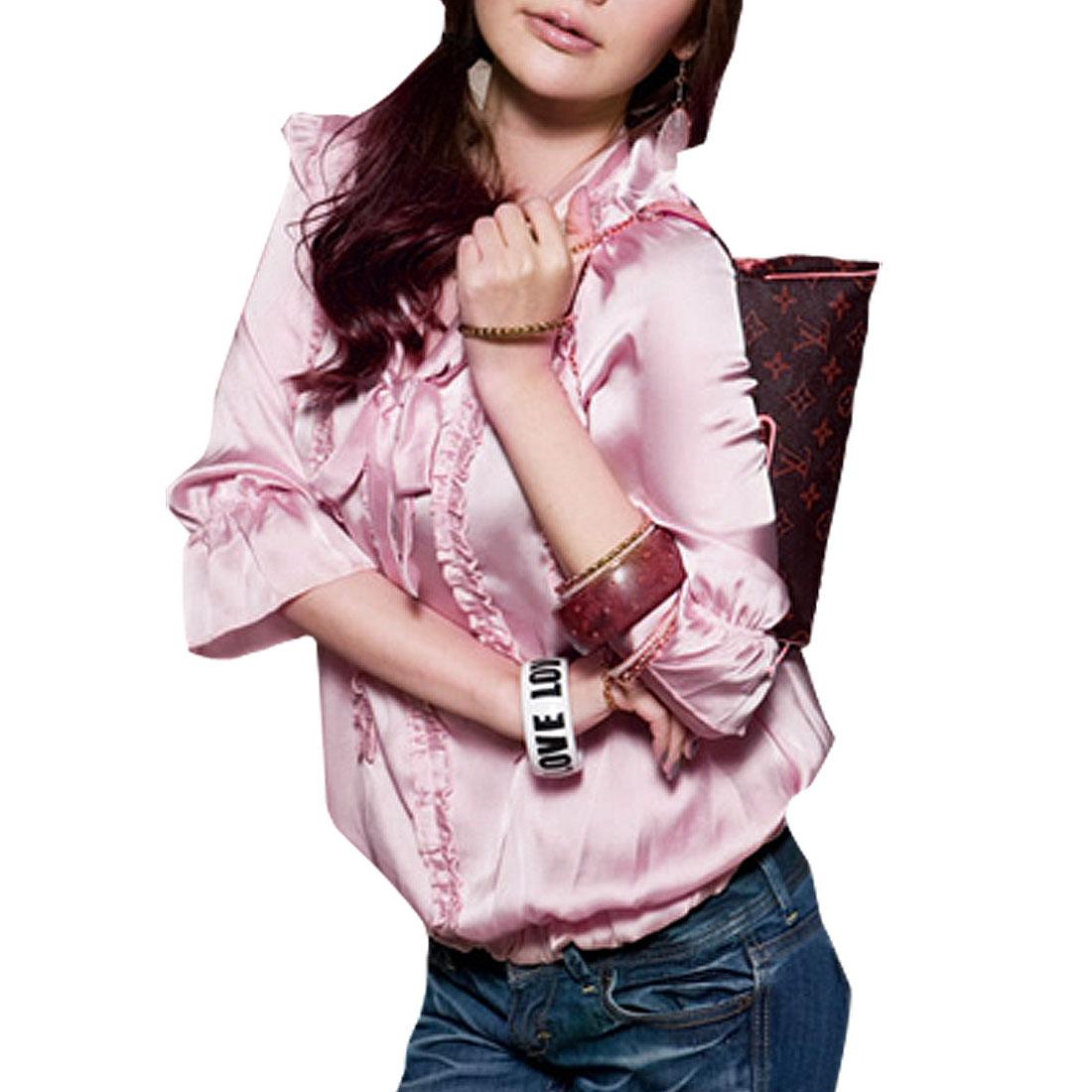 Ladies Ultra Pink Self Tie Bow Neck Half Sleeve Blouse Top 605