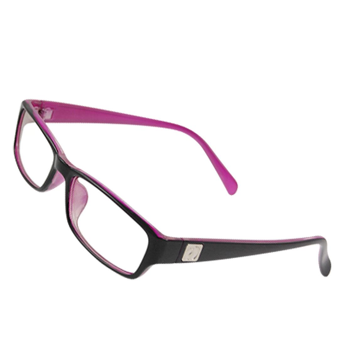 Lady Metallic Footprint Accent Temple Plain Glasses Purple Black