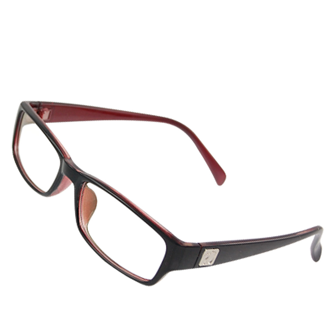 Woman Footprint Accent Temple MC Lens Plain Glasses Black Red