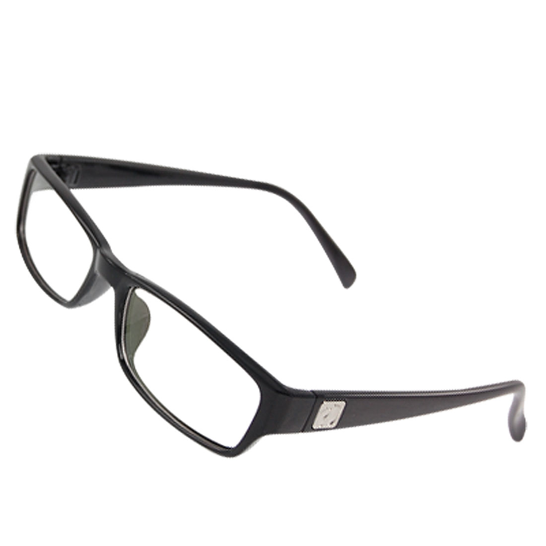 Lady Black Plastic Frame Multi Coated Lens Plano Glasses