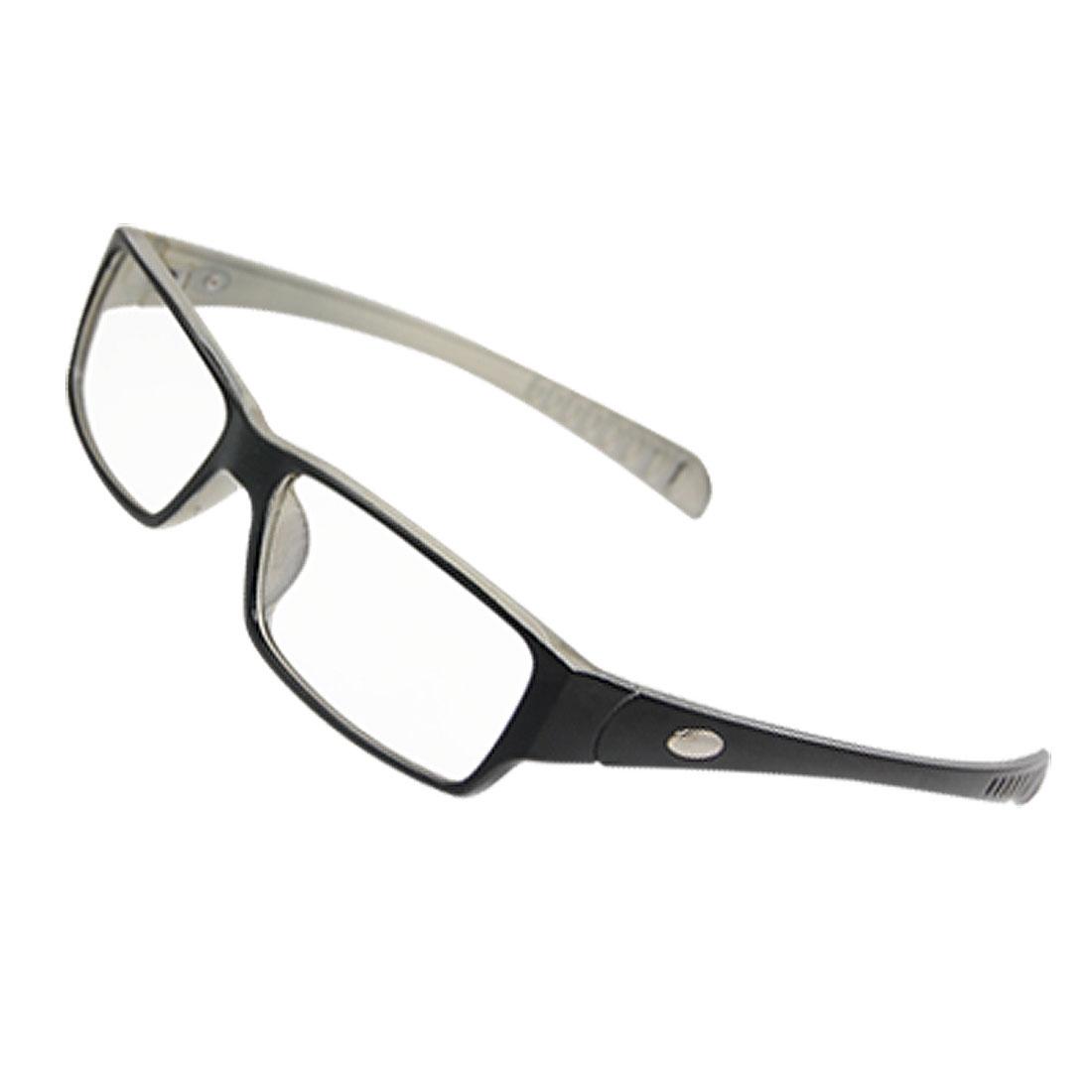 Woman Multi Coated Lens Beige Black Plastic Arms Plano Glasses