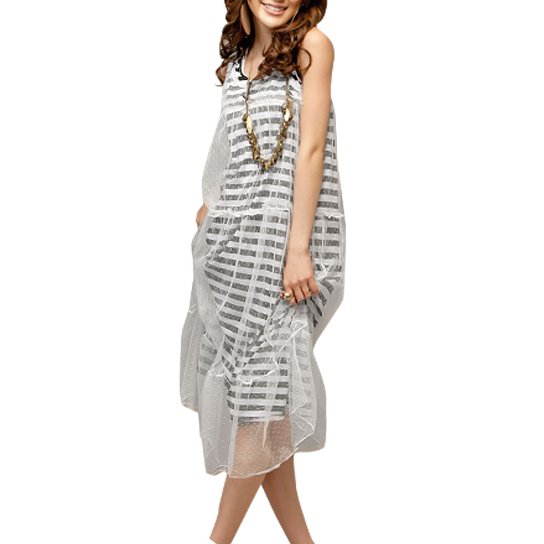 XS Black White Striped Sleeveless Tank Dress for Lady