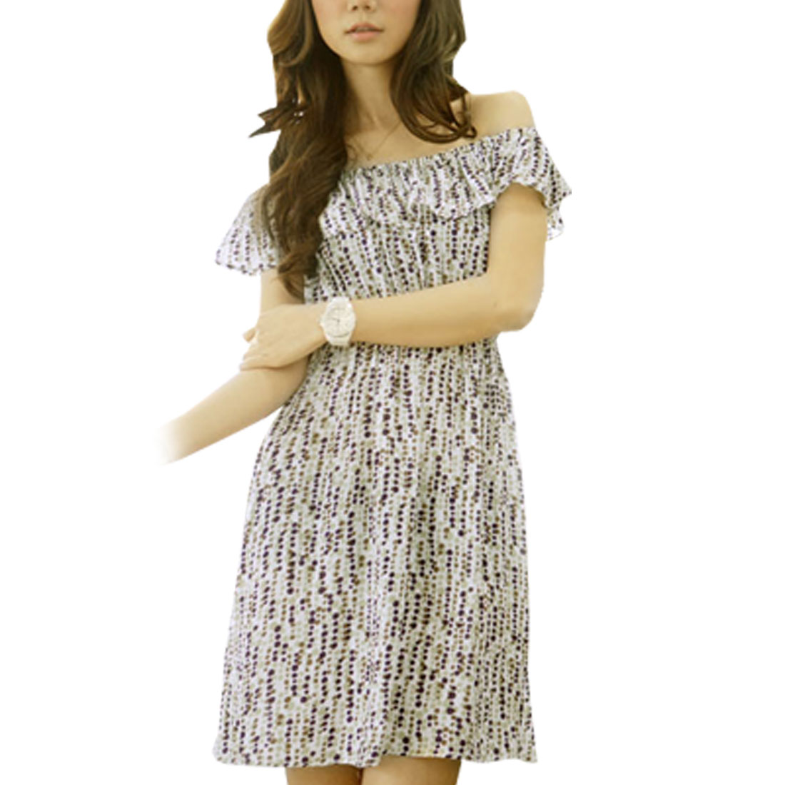 Ladies Multicolor Ruffle Offle Shoulder Strap Above Knee Dress S