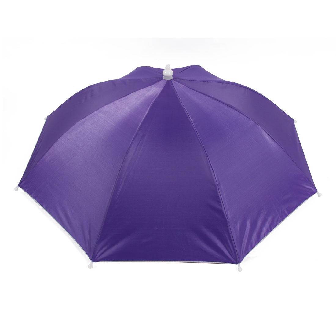 Fishing Camping Hands Free Purple Umbrella Hat Cap