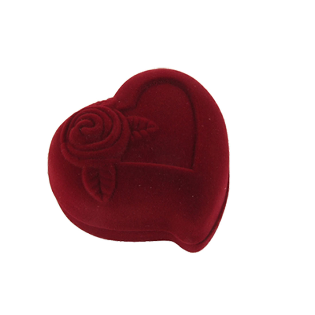 Flannel Exterior Heart Shaped Wedding Ring Case Holder Dark Red