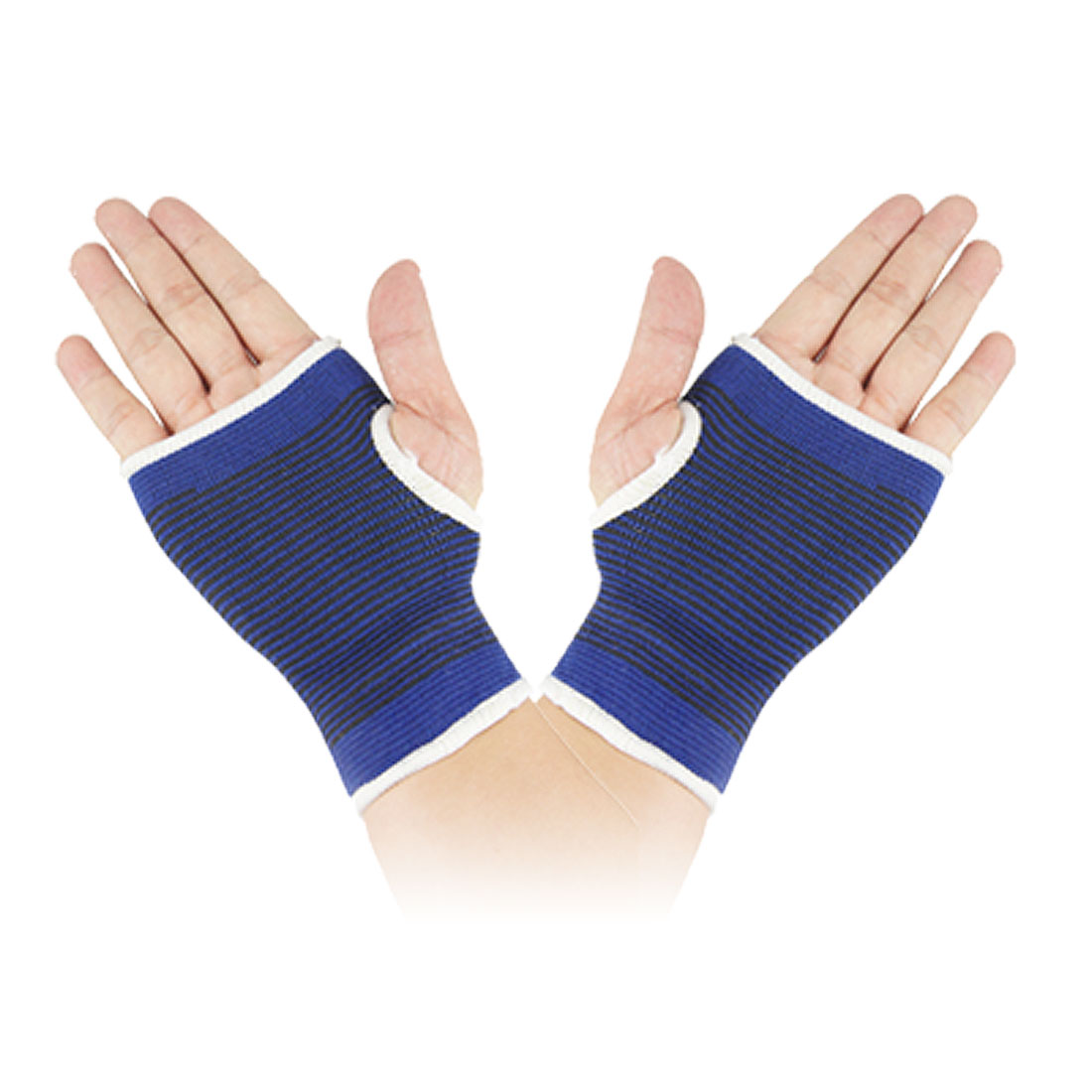 2 Pcs Black Blue Striped Stretchy Palm Wrist Support Protector