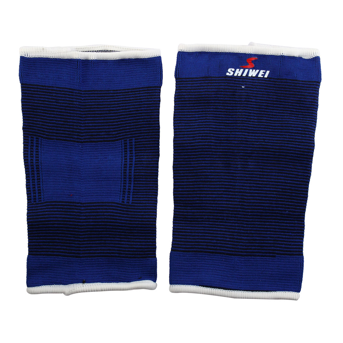 Sports Stripe Calf Leg Sleeves Support Elastic Protector Black Blue 2 Pcs