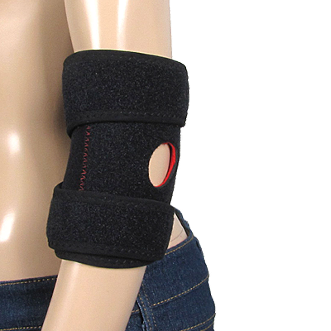 Detachable Closure Adjustable Black Elastic Elbow Brace Portective Support XXL