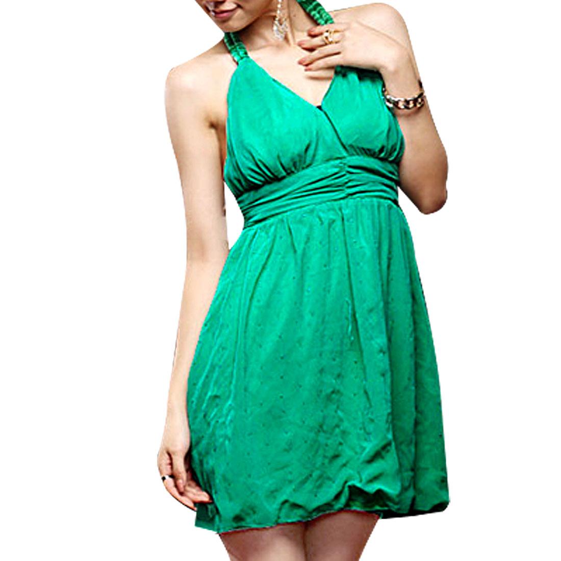 Ladies Green Empire Waist Foam Padded Bust Mini Chiffon Dress XS