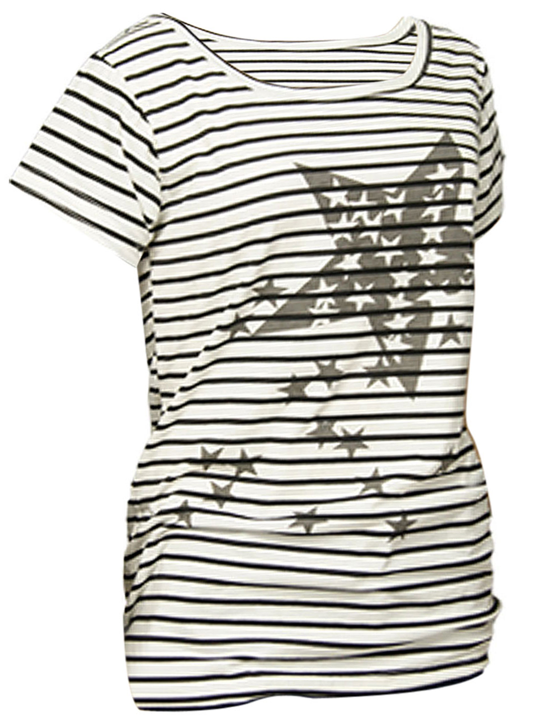 Black White Striped Round Neck Star Print Shirt S for Lady