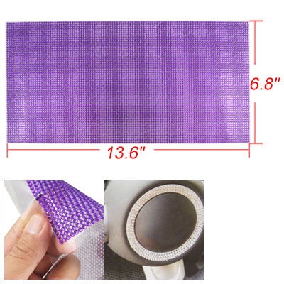 Round Faceted Purple Plastic Crystal Adhesive Backing Sticker Sheet for Car