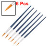 Blue Plastic Handle Aluminum Ferrule Round Tip Paint Brushes 6 Pcs