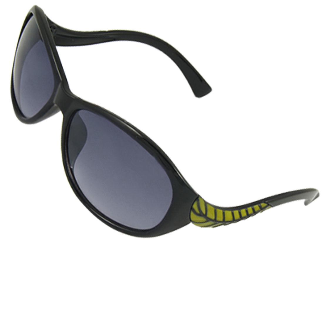 Ladies Black Plastic Full Rim Green Leaf Detail Arms Sunglasses