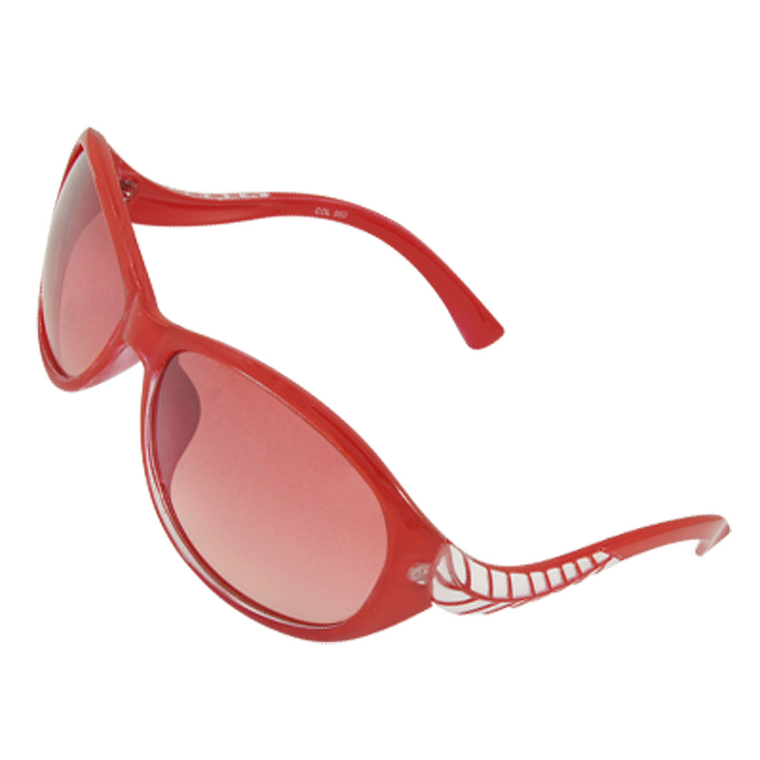 Ladies Red Plastic Frame White Leaf Detail Arms Sunglasses