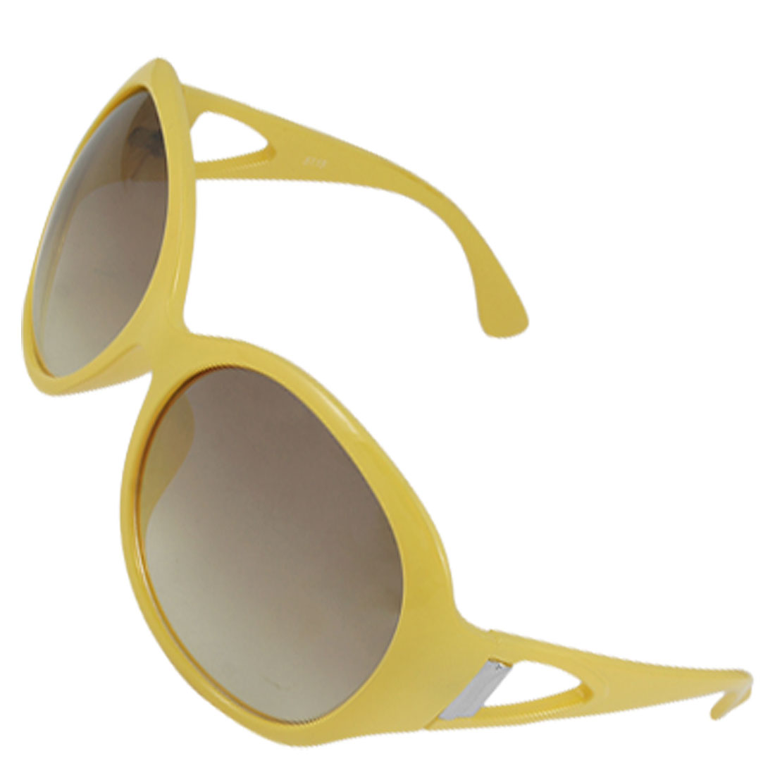 Ladies Yellow Plastic Full Rim Oversized Lens UV Protection Sunglasses