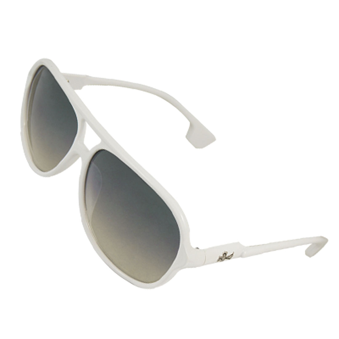 Multi Coating Gradient Lens White Dual Bridge Frame Sunglasses for Lady